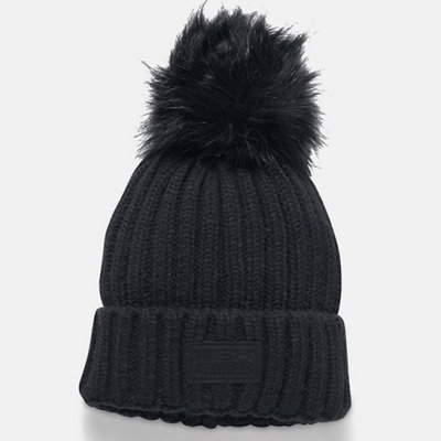 d716b012982 ... italy under armour snowcrest pom boyfriend cuff beanie 2017 2018  1299905 001 black f6c79 61b02